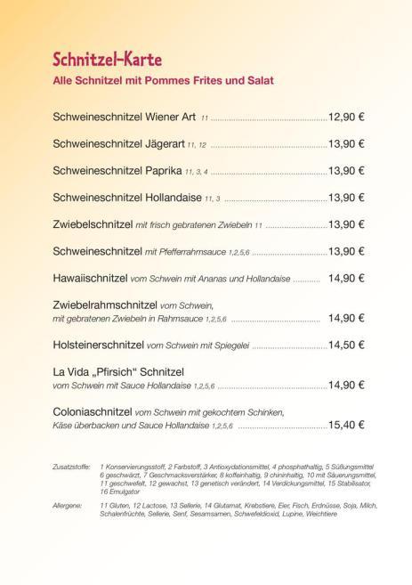 Jägerschnitze, Zigeunerschnitzel, Coloniaschnitzel,
